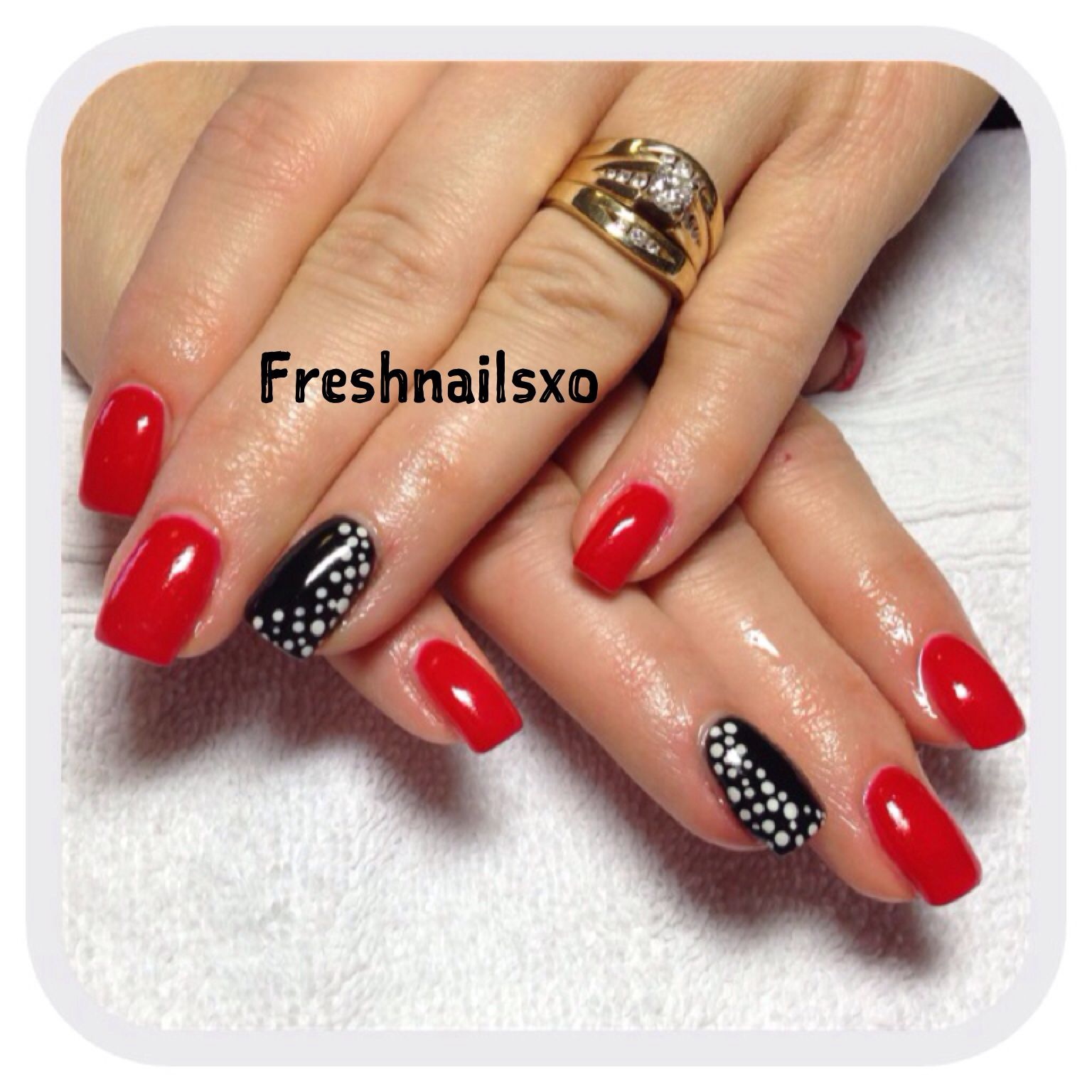 Red Black And White Gel Nails