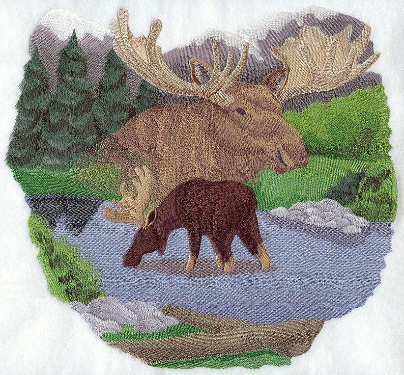 --Machine Embroidered Quilt Block AzEB CHRISTMAS MOOSE