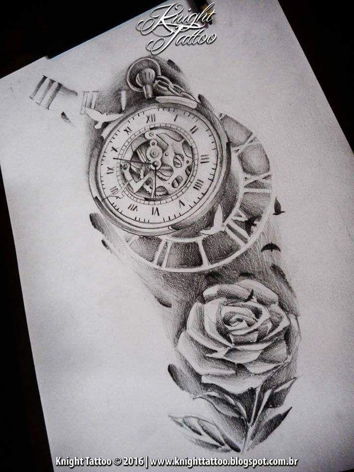 Rose Clock Tattoo Designs Drawing: #clock #surreal #sketch