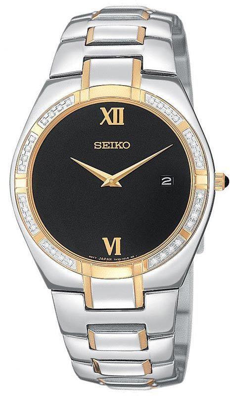 Seiko SKP338 Men's Dress Quartz Two Tone Black Dial Diamond Watch