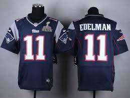 New England Patriots #11 Julian Edelman Nike Blue Elite 2015 Superbowl  Jersey.