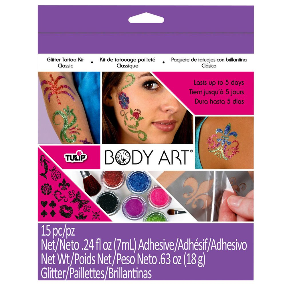 This easy-to-use, cosmetic-grade, hypoallergenic glitter is perfect for creating glitter tattoos or accenting real tattoos.