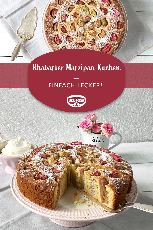 Rhabarber-Marzipan-Kuchen | Rezept | Kuchen mit marzipan