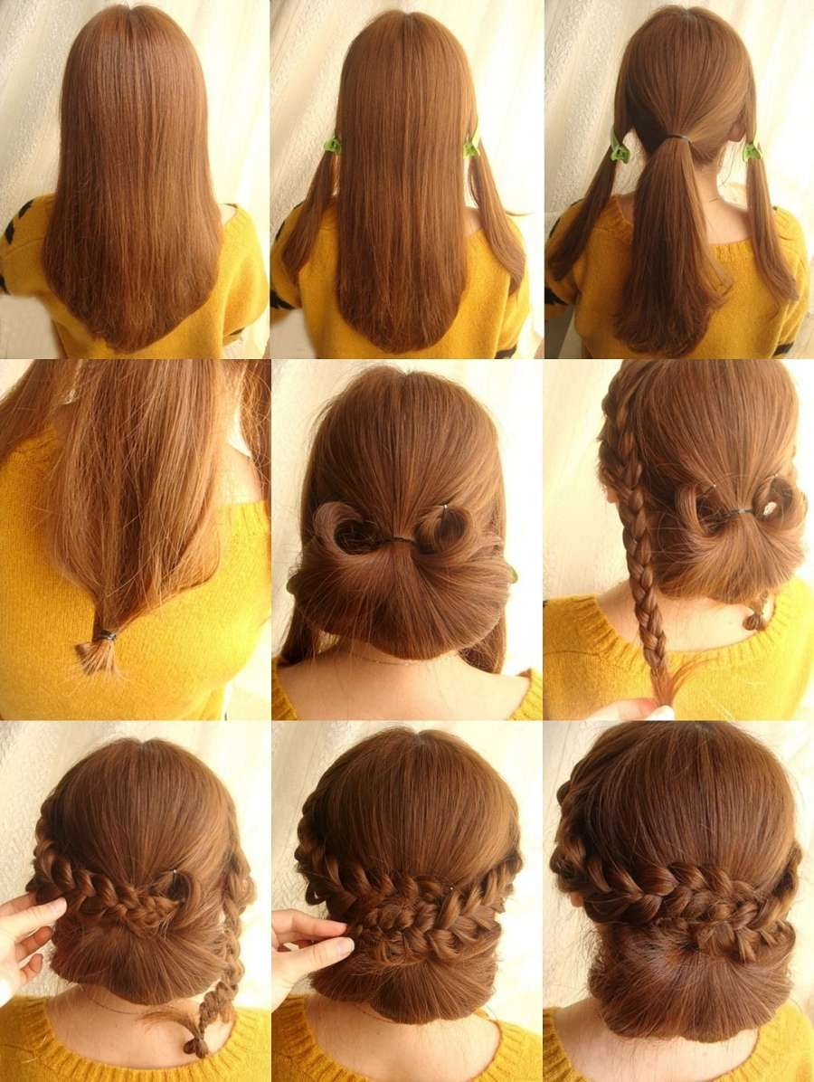 this chignon with braid hairstyle is perfect for a dinner party