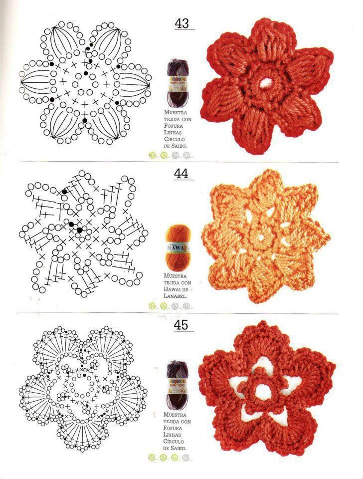 Esquema diagrama Crochet Ganchillo Flores | Crochet Blossoms ...