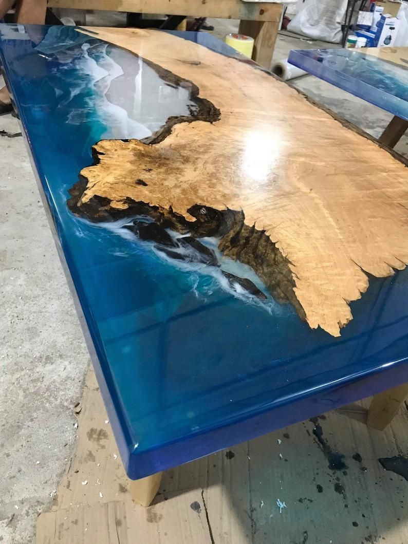Table basse epoxy table rivière table océan table fait à la  Etsy