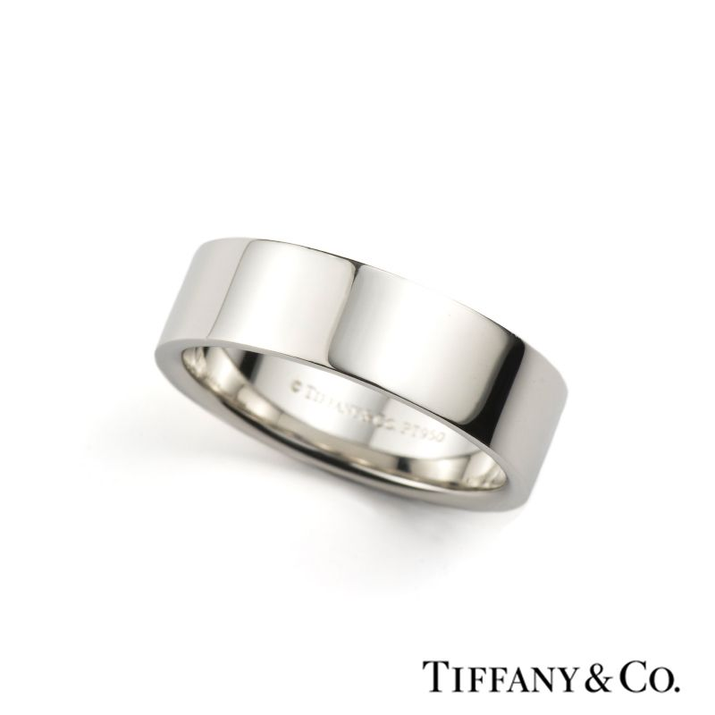 Simple Tiffany u Co mm Flat Wedding Band in Platinum