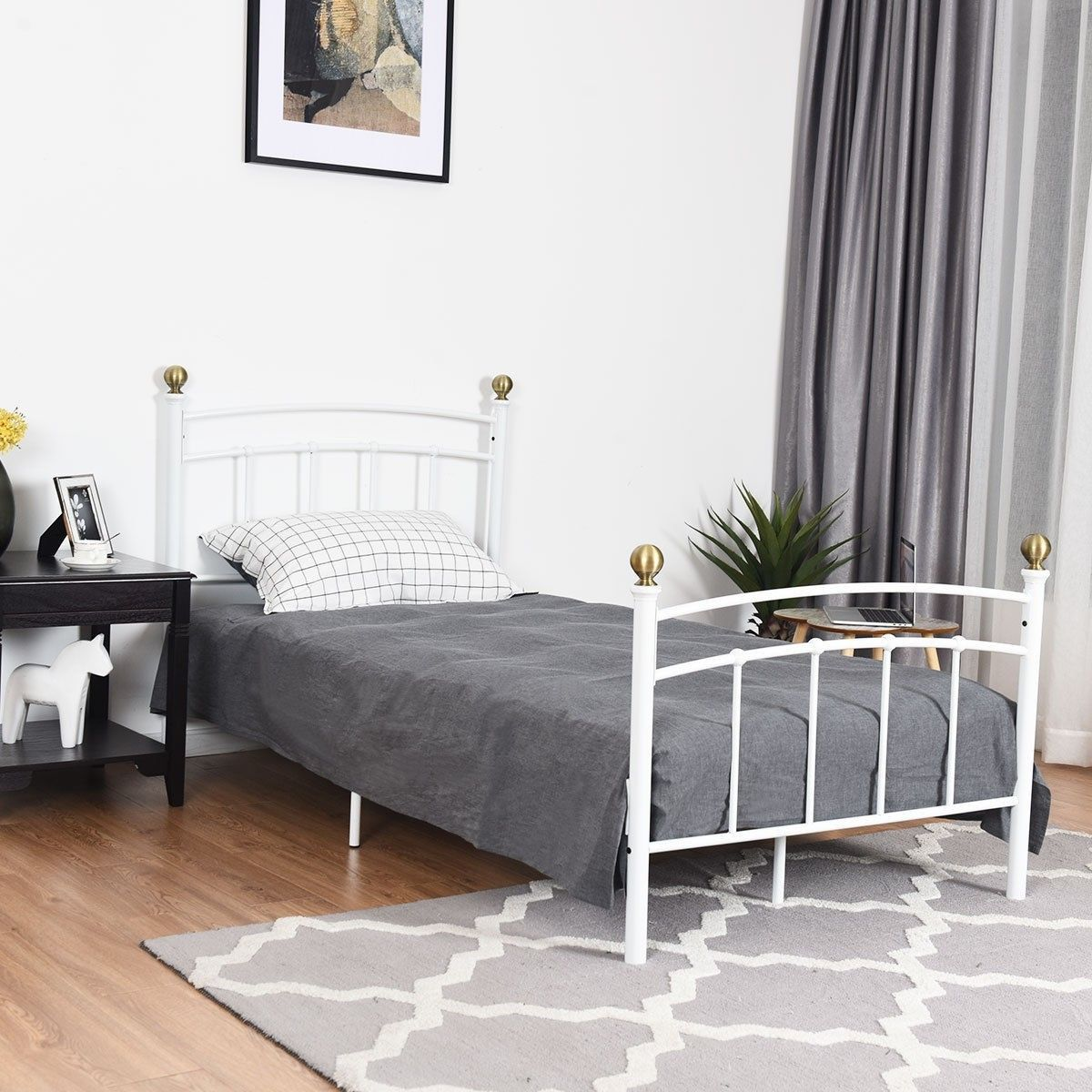 12 Twin Size Metal Bed Frame With Metal Slat Support Bed Frame
