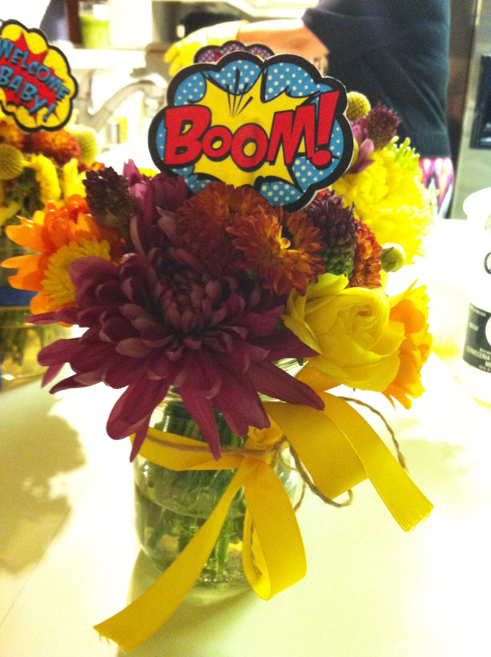 Superhero Baby Shower Flowers