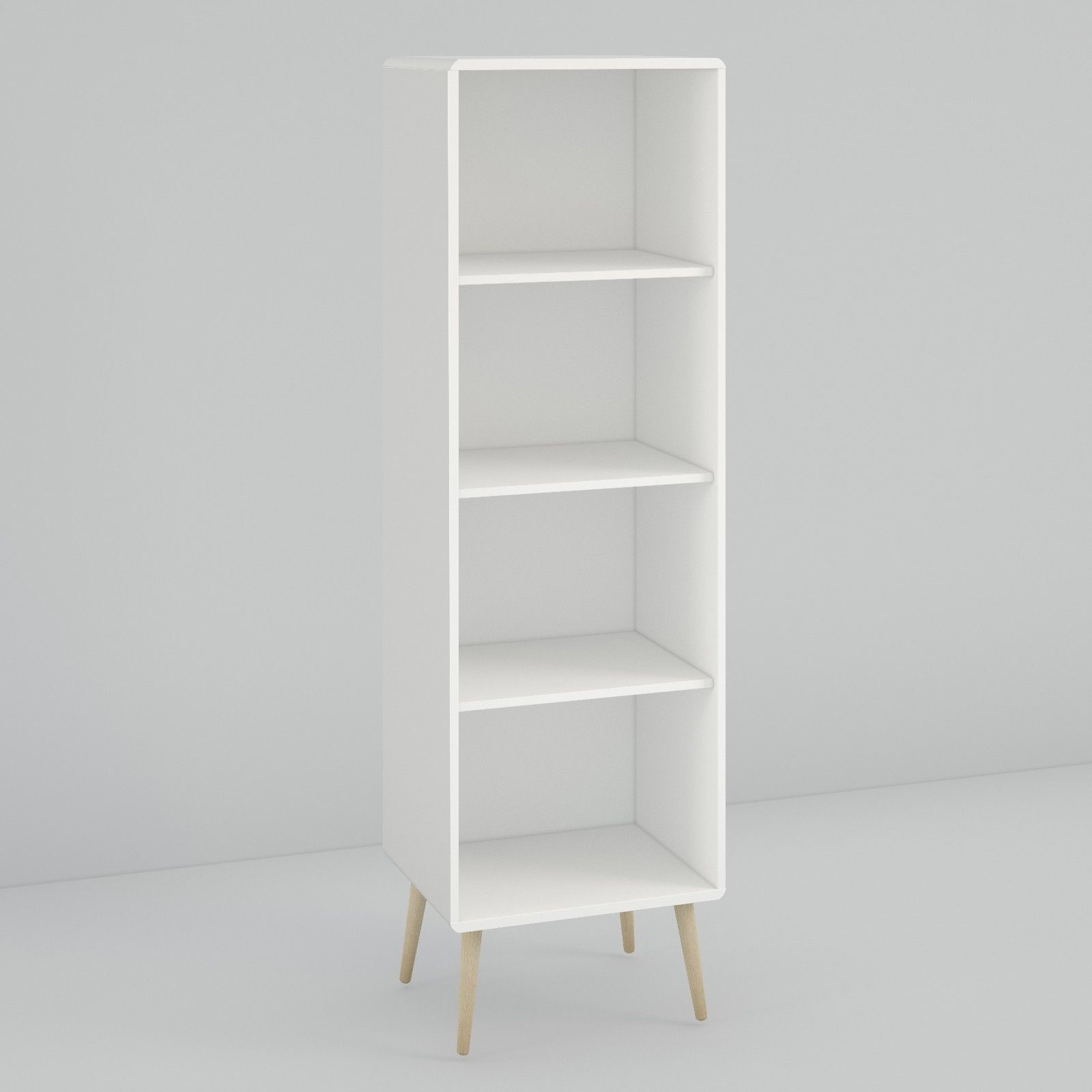 Steens soft line retro spindle style white tall narrow bookcase