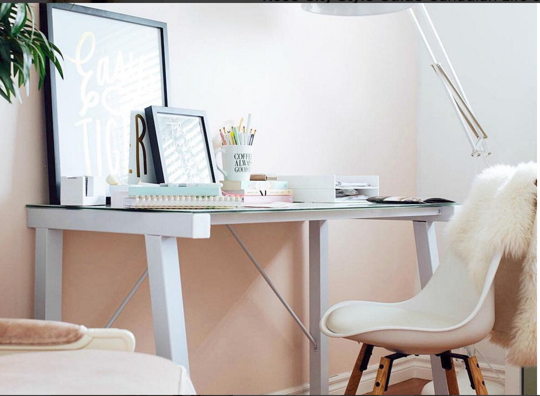 We Love @rosecitystyle Home Office! Malvin Office Desk + Klarup Chair +  Piano Lamp + Rita Faux Fur Rug U003d Modern Elegant Office