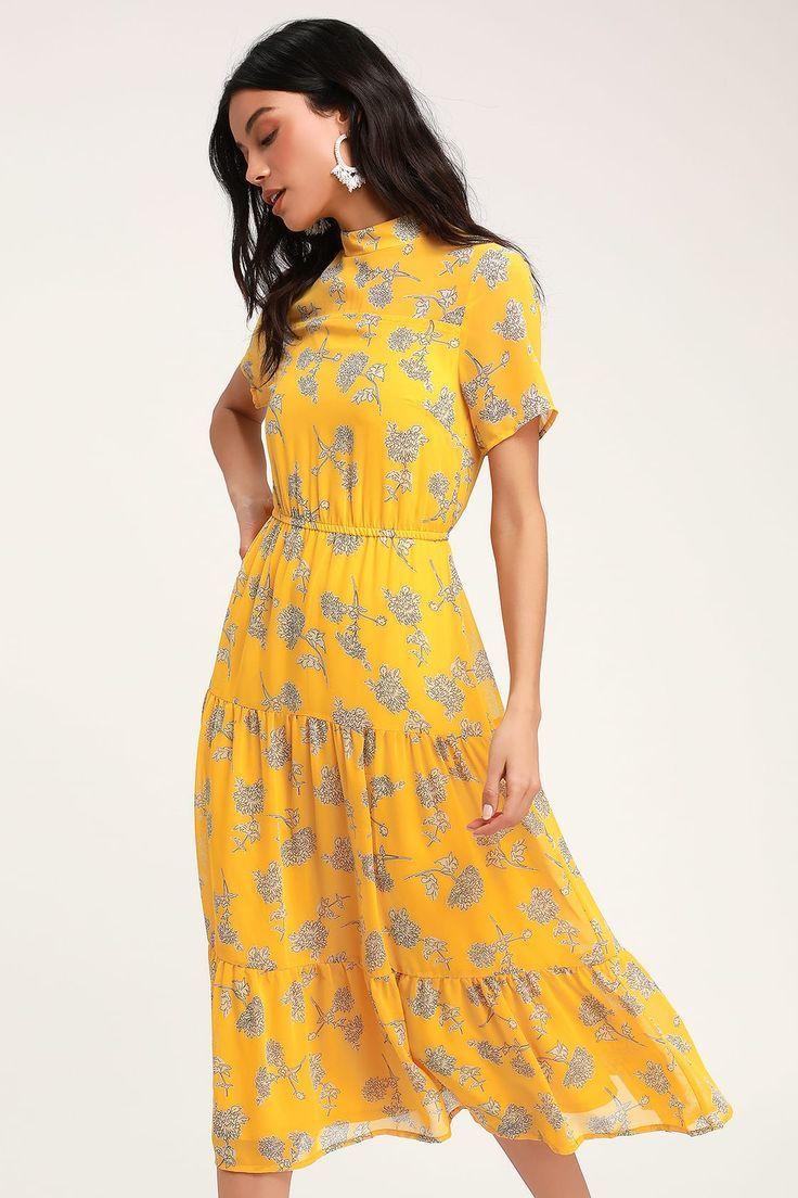 Lulus | Floral Dressed Up Senfgelb Blumendruck Midi-Kleid ...