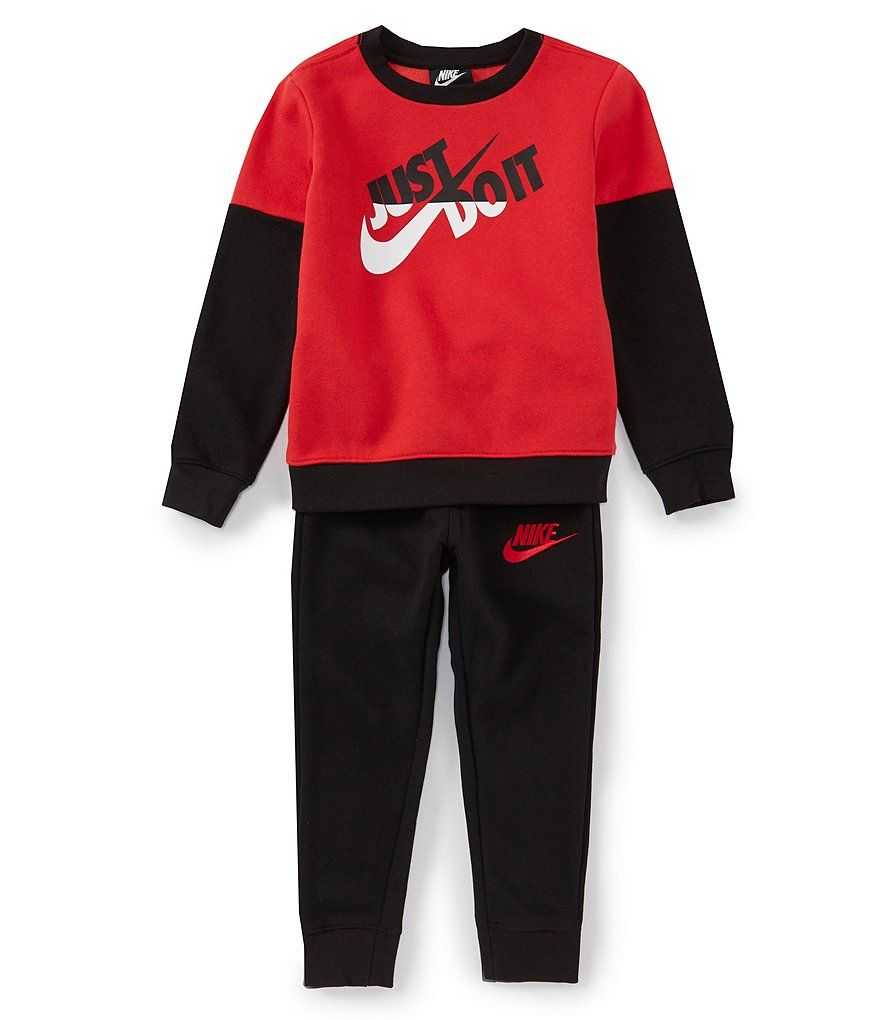 Nike Little Boys 2t 7 Split Just Do It Crew Neck Pullover Jogger Pants Pullover Swim Fashion