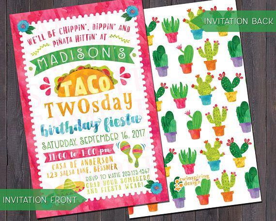 Taco twosday fiesta birthday invitations andor thank you kalebs taco twosday fiesta birthday invitations thank you notes andor favor tags mexican fiesta party stopboris Image collections