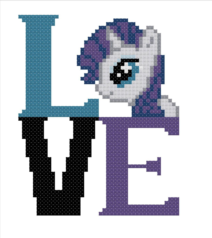 My Little Pony - Rarity - LOVE Square DIGITAL Cross Stitch Pattern