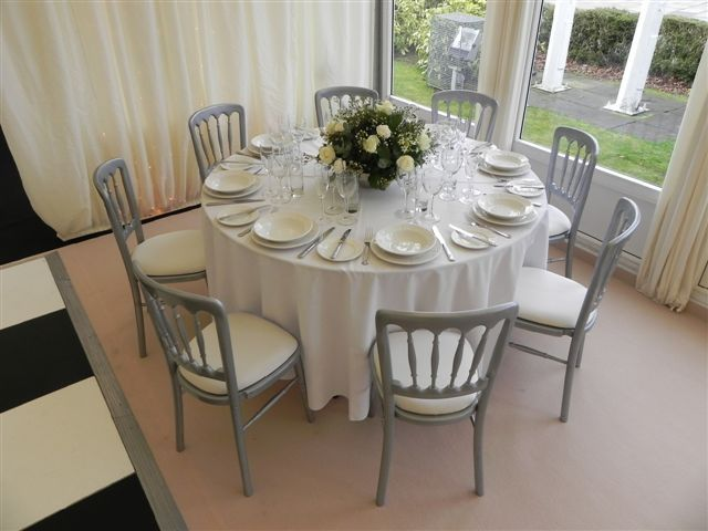Regency Silver Chair Ivory Tableware Party Hire Wedding Event