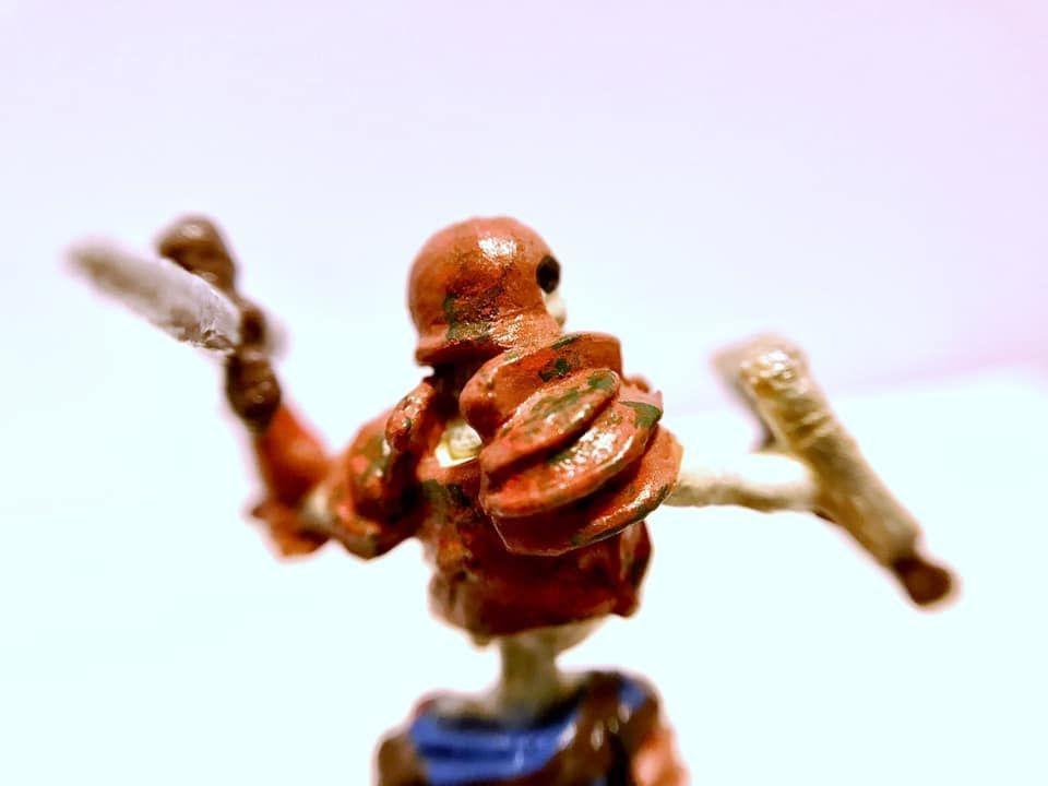 Rpg Miniature Painting Rust Effect On An Origin Miniatures Skeleton Soldier In 2020 28mm Miniatures Miniature Painting Rpg