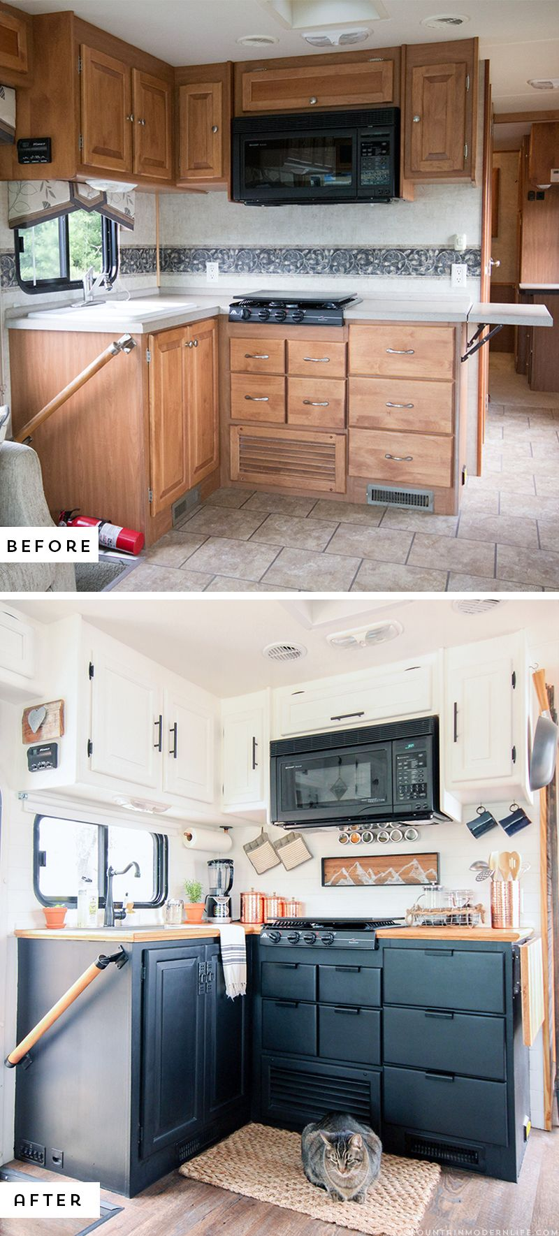 Rustic Modern Rv Tour Mountainmodernlife Com Kitchen Remodel Small Kitchen Remodel Layout Remodeled Campers