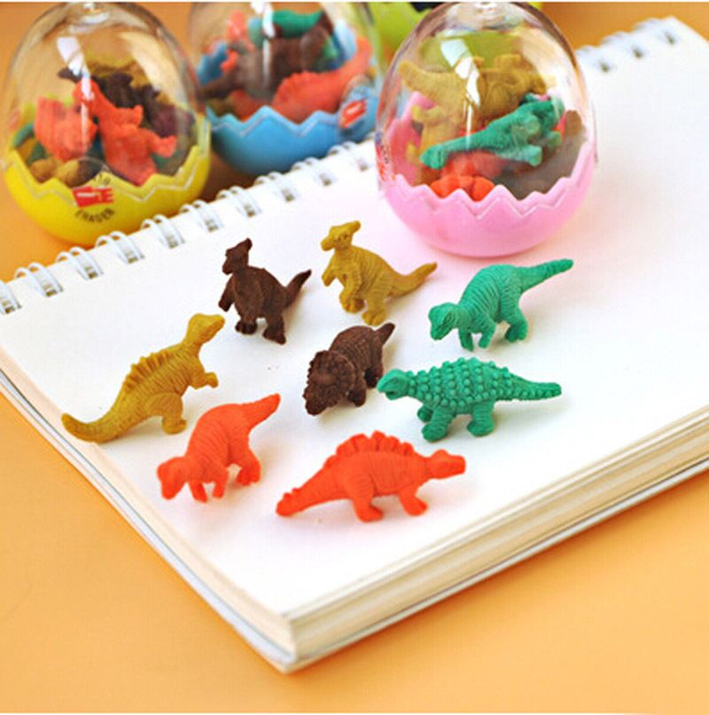 Free shipping 10 sets/Lot lovely dinosaur shape eraser gifts children stationery 1 set =1 egg=8pcs mini dinosaur shape eraser
