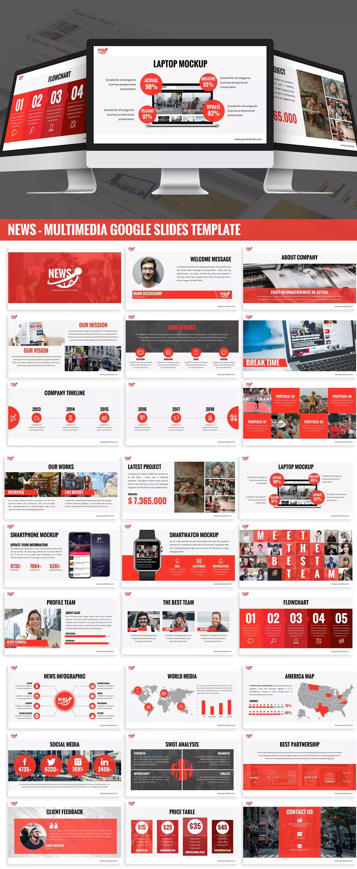 News Multimedia Google Slides Template By Slidefactory On Envato Elements Powerpoint Template Free Presentation Slides Templates Powerpoint