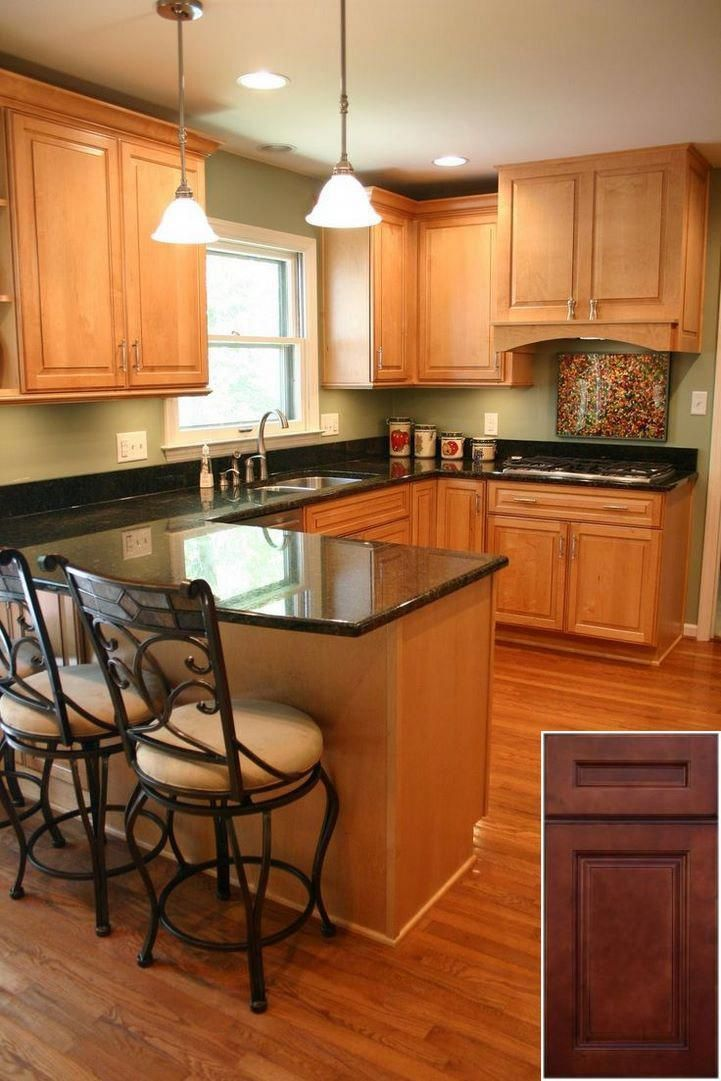 medium oak kitchen cabinets 2021 in 2020 green kitchen on best colors for kitchen walls id=78531
