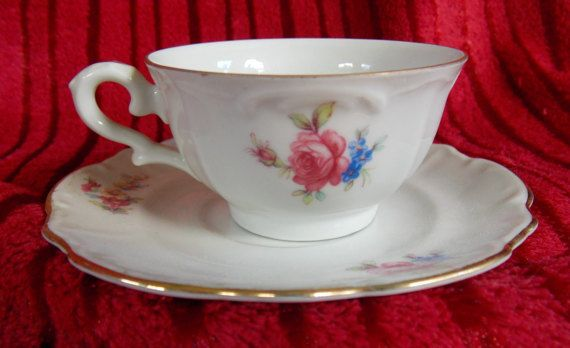 Occupied Germany Floral teacup and Saucer Made in Bavaria Circa 1940s