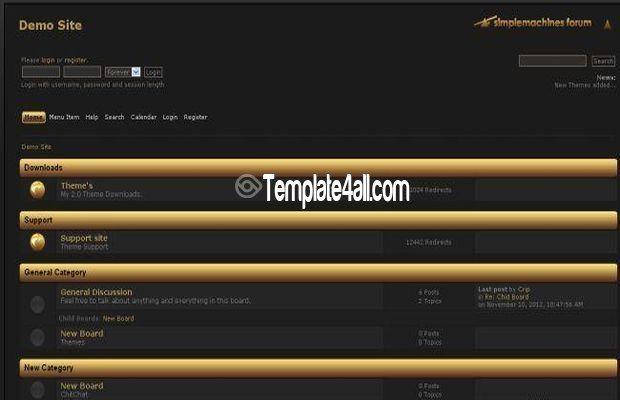 Free Black Golden Smf Theme Template Website Themes Templates