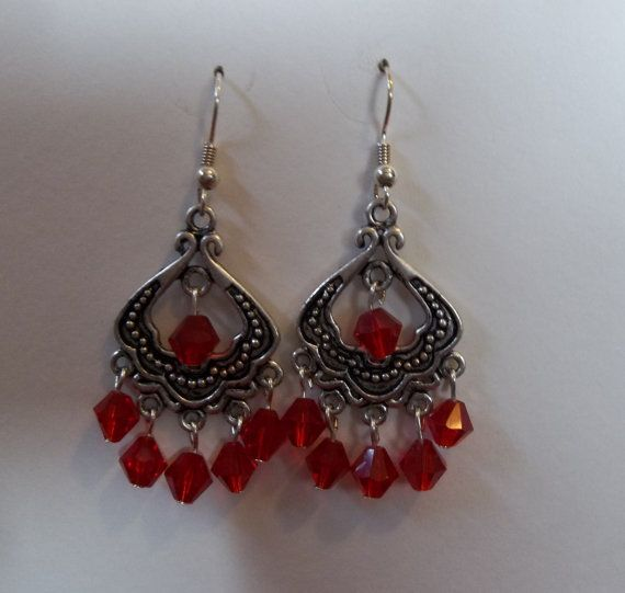 Antiqued Silver & Red Crystal Chandelier Earrings | jewelry | Pinterest
