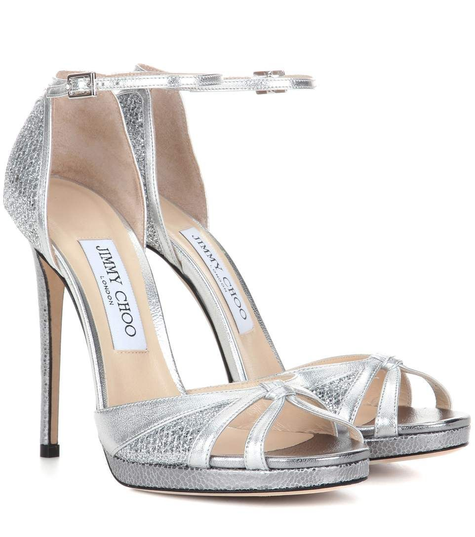 Jimmy Choo's Talia 120 sandals are a dazzling eveningwear choice. The metallic  silver leather is amped up with glitter fabric in a matching hue for added  ...