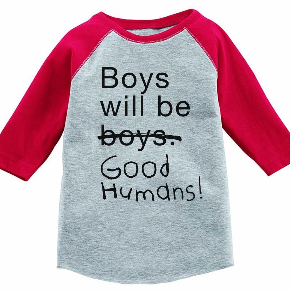 6dd8859c Boys Will Be Good Humans (TM) Kids Baseball Tee | Feminist Apparel ...