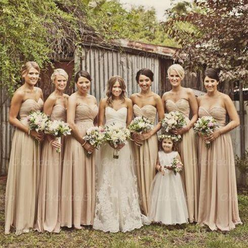 Champagne Bridesmaid Dresses, Chiffon
