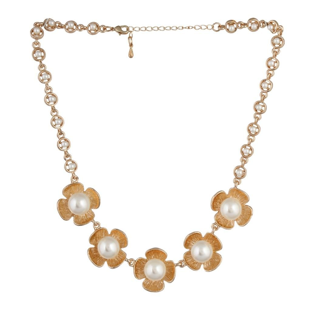 Trending‬ Designer‬ Fayon Contemporary Statement Golden Pearl Flower Necklace @ 50% Discount Visit Now To Buy >> bit.ly/1Xp7EjX