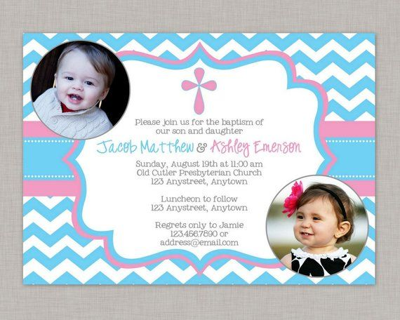 photo baptism invitations twin baptism invitations boy girl baptism