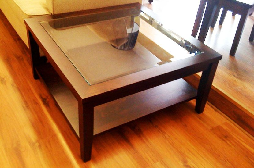 Wood Square Glass Top Coffee Table Large Square Coffee Table