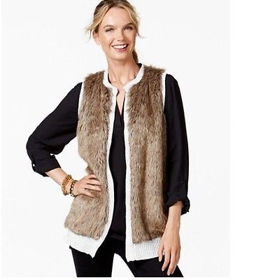 H&M Women's Open Faux-Fur-Front Long Sleeveless Sweater Vest Size ...