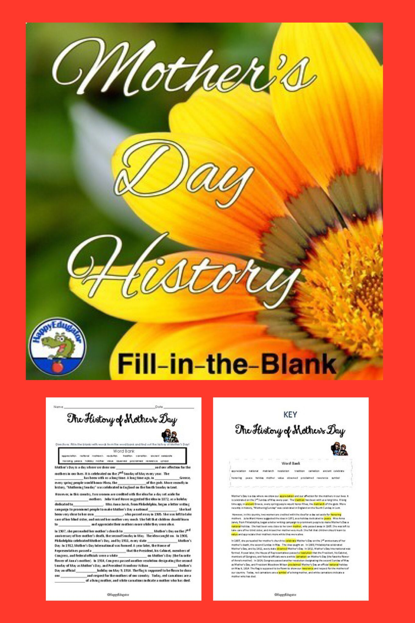 Mother S Day History Fun Context Clues Practice Activity