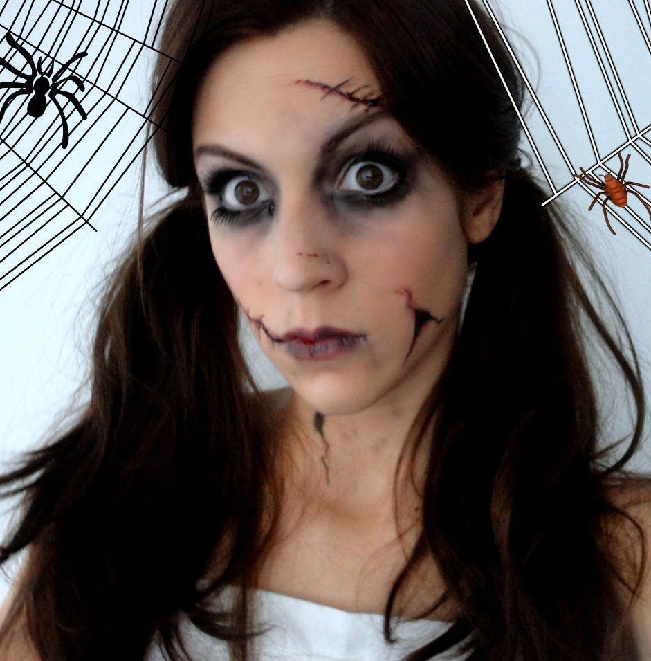 Maquillage d 39 halloween poup e d moniaque halloween pinterest halloween makeup - Maquillage cicatrice halloween ...