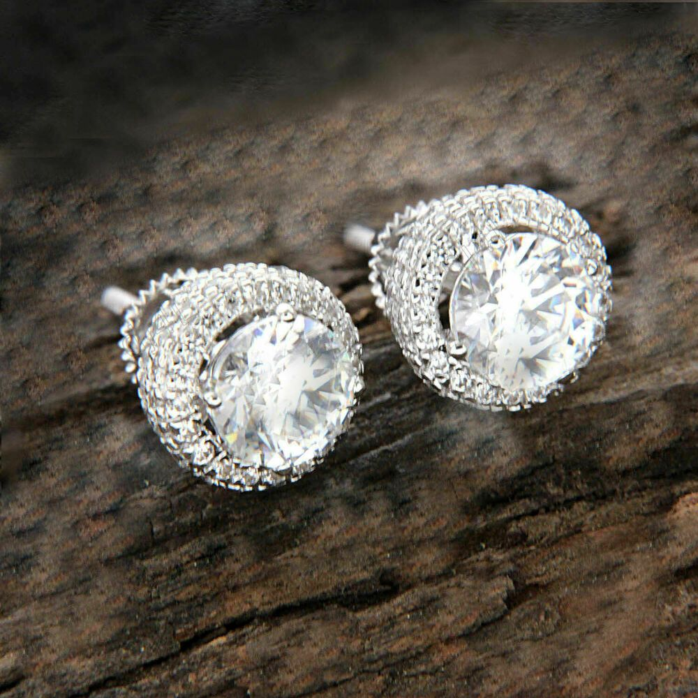 637261e25e00d 2.50Ct Round-Cut Diamond Halo Stud Earrings For Women's 14k White ...