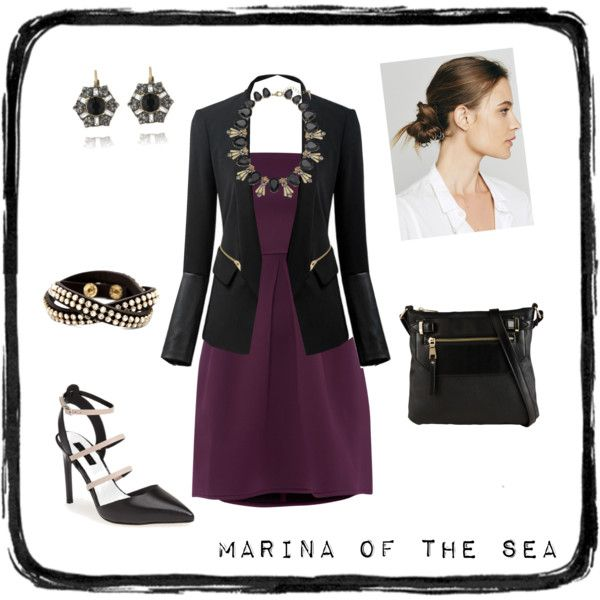 """Retro Deco"" by marinaofthesea on Polyvore www.marinaofthesea.com  #chloeandisabel Limited Edition Deco Fanfare dresses up a plum dress! #statementnecklaces #dressitup #heels #blackandgold"