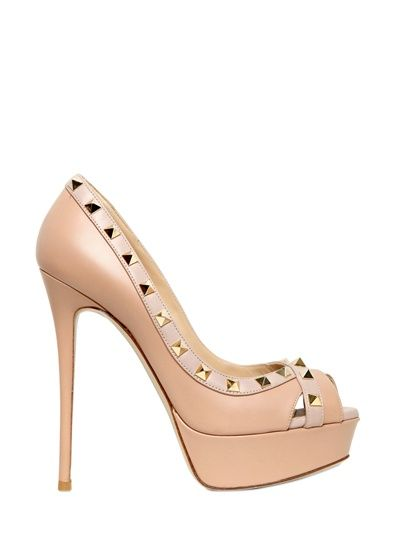 VALENTINO - 140MM ROCK STUD CALFSKIN OPEN TOE PUMPS - LUISAVIAROMA - LUXURY SHOPPING WORLDWIDE SHIPPING - FLORENCE