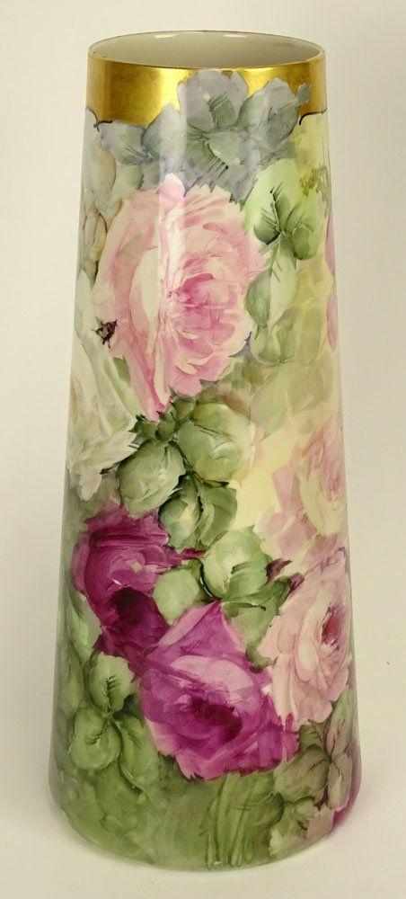 Antique Belleek Willets Porcelain Floral Design Tall On Vaseurns