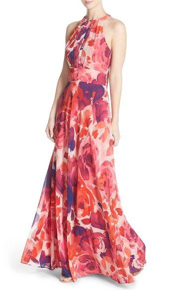 Eliza J Floral Print Halter Maxi Dress (Regular