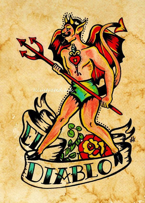 Old school tattoo devil art el diablo loteria print 5 x 7 for Tattoo school listings
