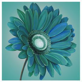 Canvas Print Of A Gerbera Daisy With Hand Painted Embellishments
