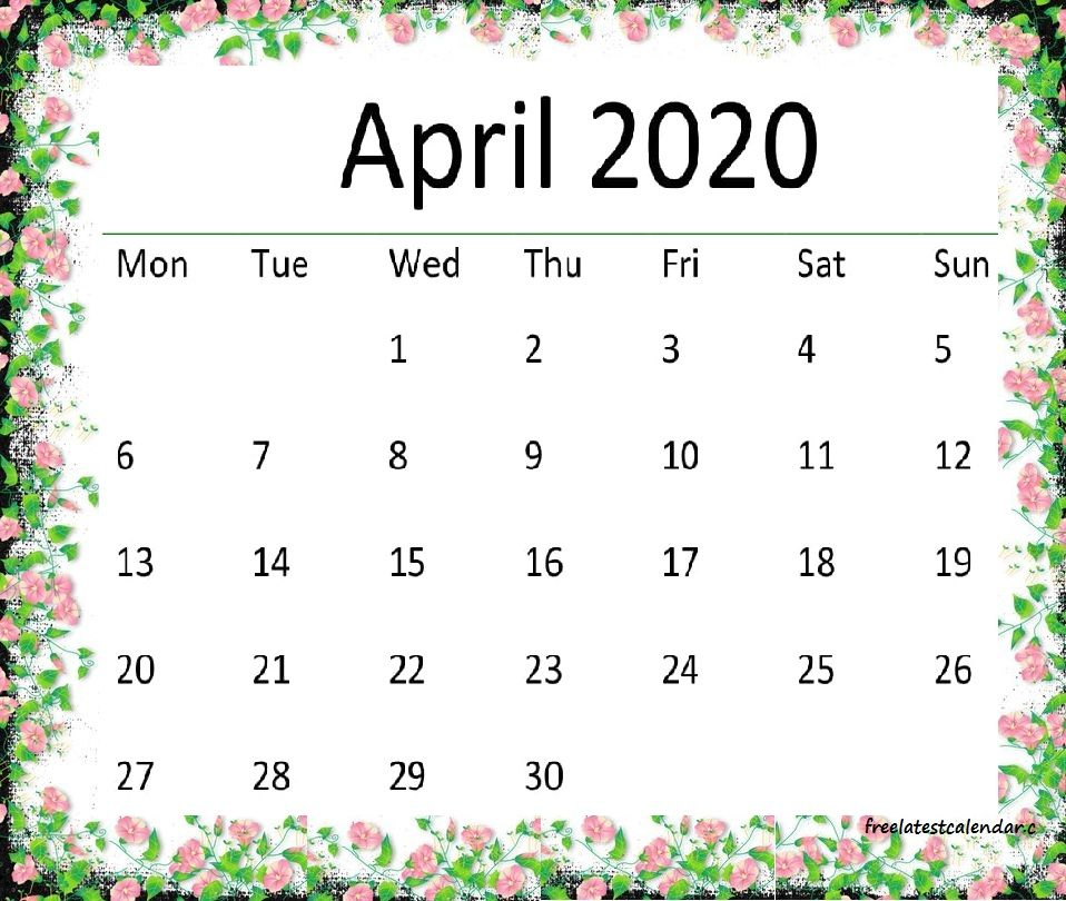 Latest Cute April 2020 Floral Calendar Hd Wallpaper In 2020 2020