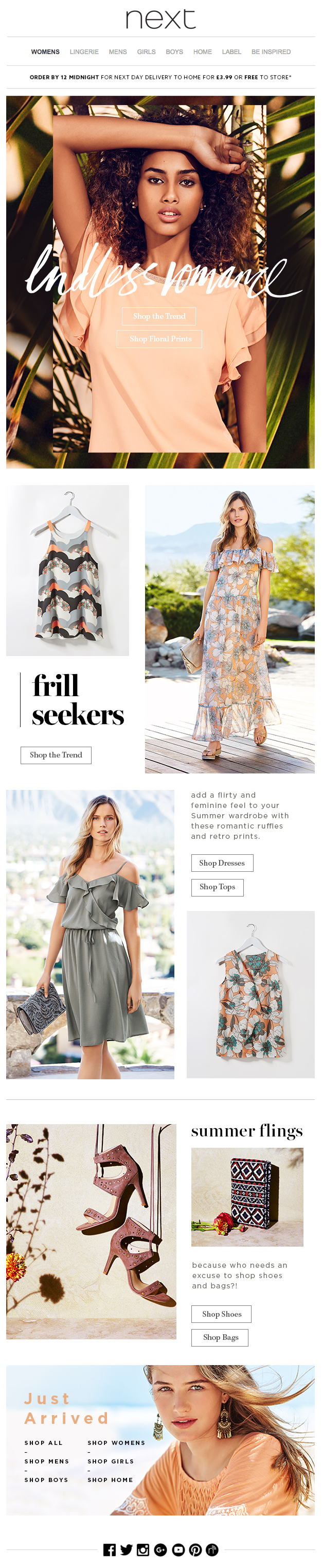 next - Just arrived + Summer styles to fall in love with... #newsletter #design #email #emailnewsletter #layout #newsletterlayout #fashion