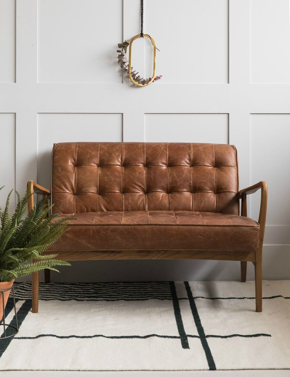 Mid Century Button And Stud Brown Leather Two Seater Brown Leather Chair Living Room Mid Century Modern Leather Couch Retro Sofa