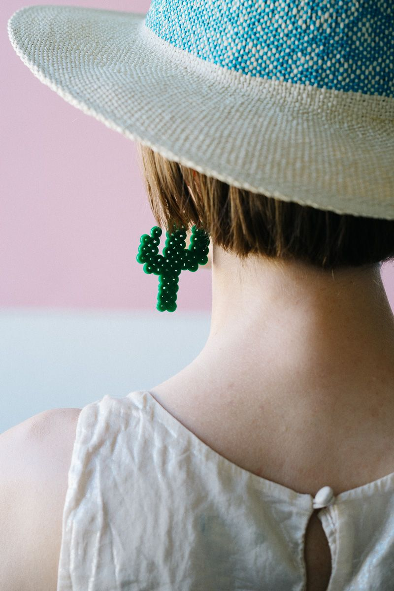 Diy cactus earrings from fuse beads fuse beads cactus