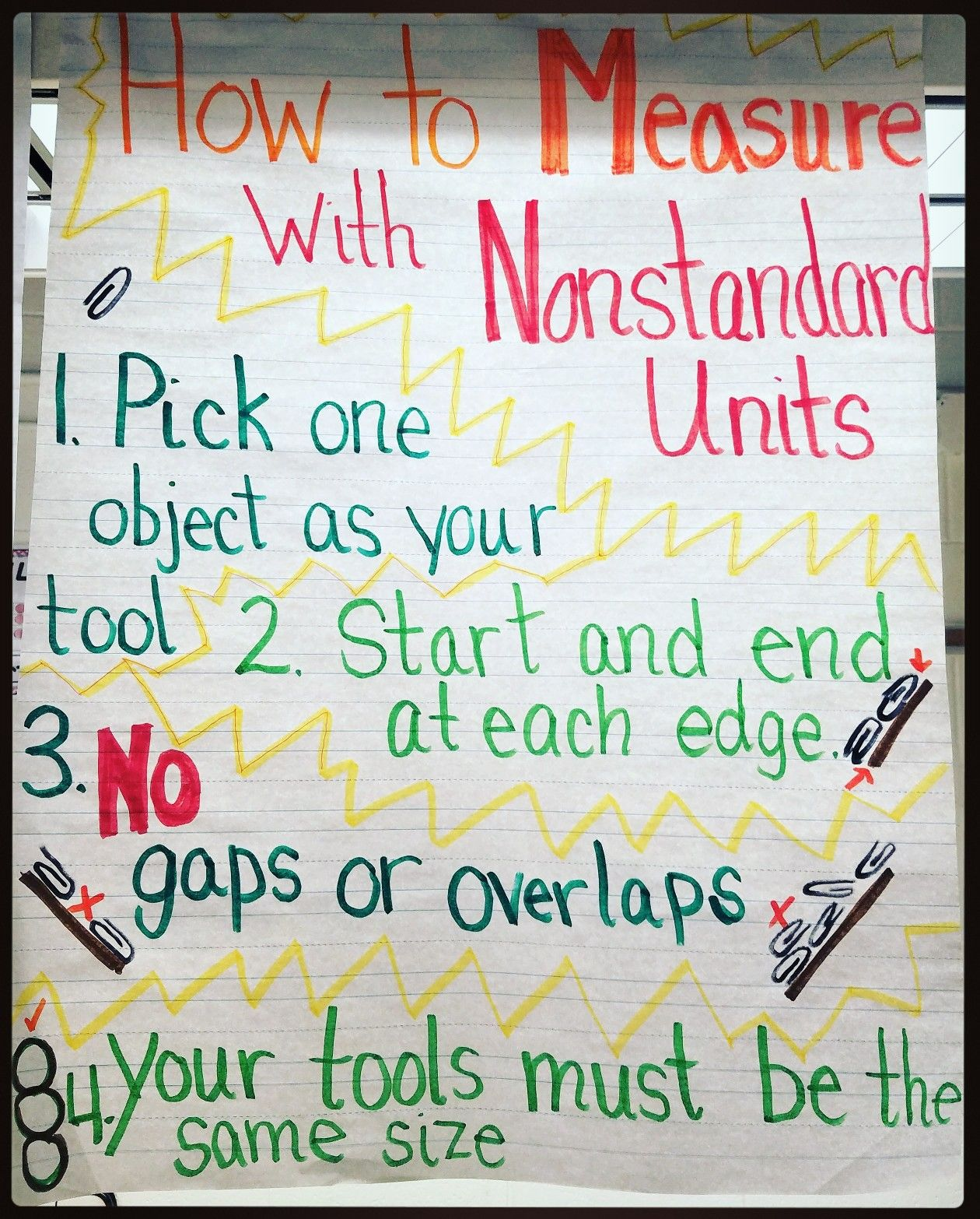 measurement with non standard units anchor chart first grade teaching teaching measurement. Black Bedroom Furniture Sets. Home Design Ideas