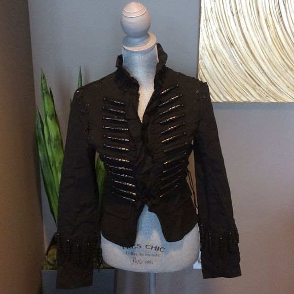 ROBERTO CAVALLI for H&M Jacket Sz 4 Super cool one of a kind military style jacket with intricate details by Roberto Cavalli for H&M. Ruffle trim collar, leather trim and side tassels, hook and eye front closure. Color black. Size 4. In very good used condition. H&M Jackets & Coats